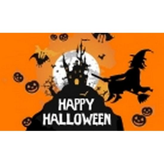 Halloween Straatversiering.Nu Zeer Voordelig Oranje Happy Halloween Vlag Bestellen